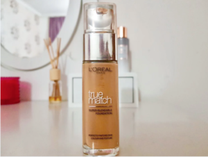 Loreal True Match foundation on white vanity table
