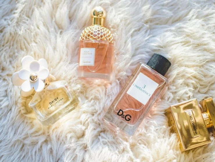 Four perfume bottles laid out on a fluffy, white carpet