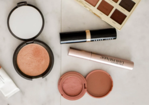 A selection of open compact makeup products