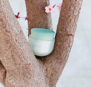 A skincare product on a tree on the beach