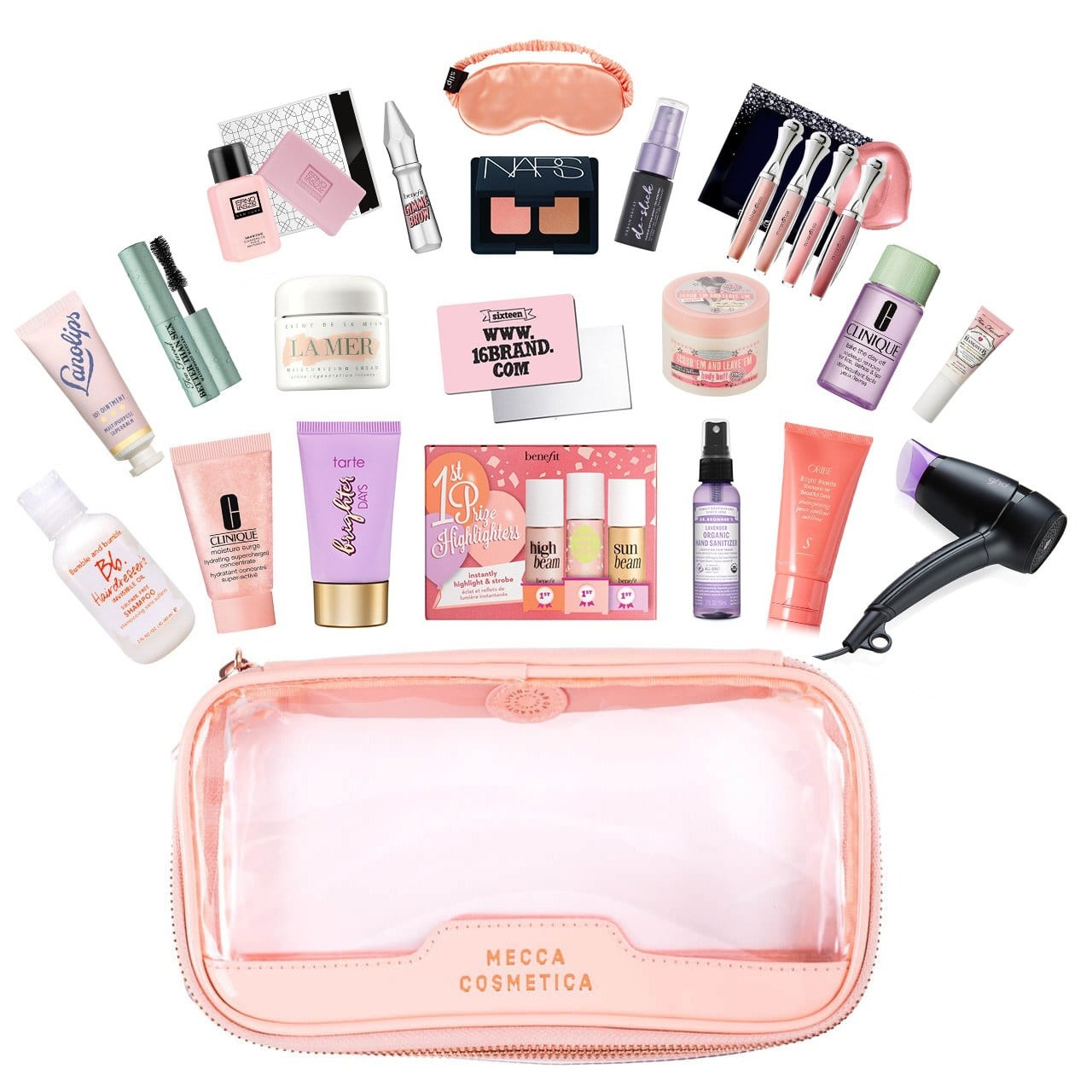 a pink clear plastic makeup bag with an array of miniature products.
