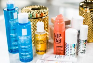 A collection of skincare and beauty products