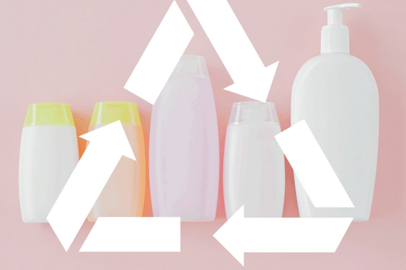 recycling beauty products with recycling symbol pasted on top of image.