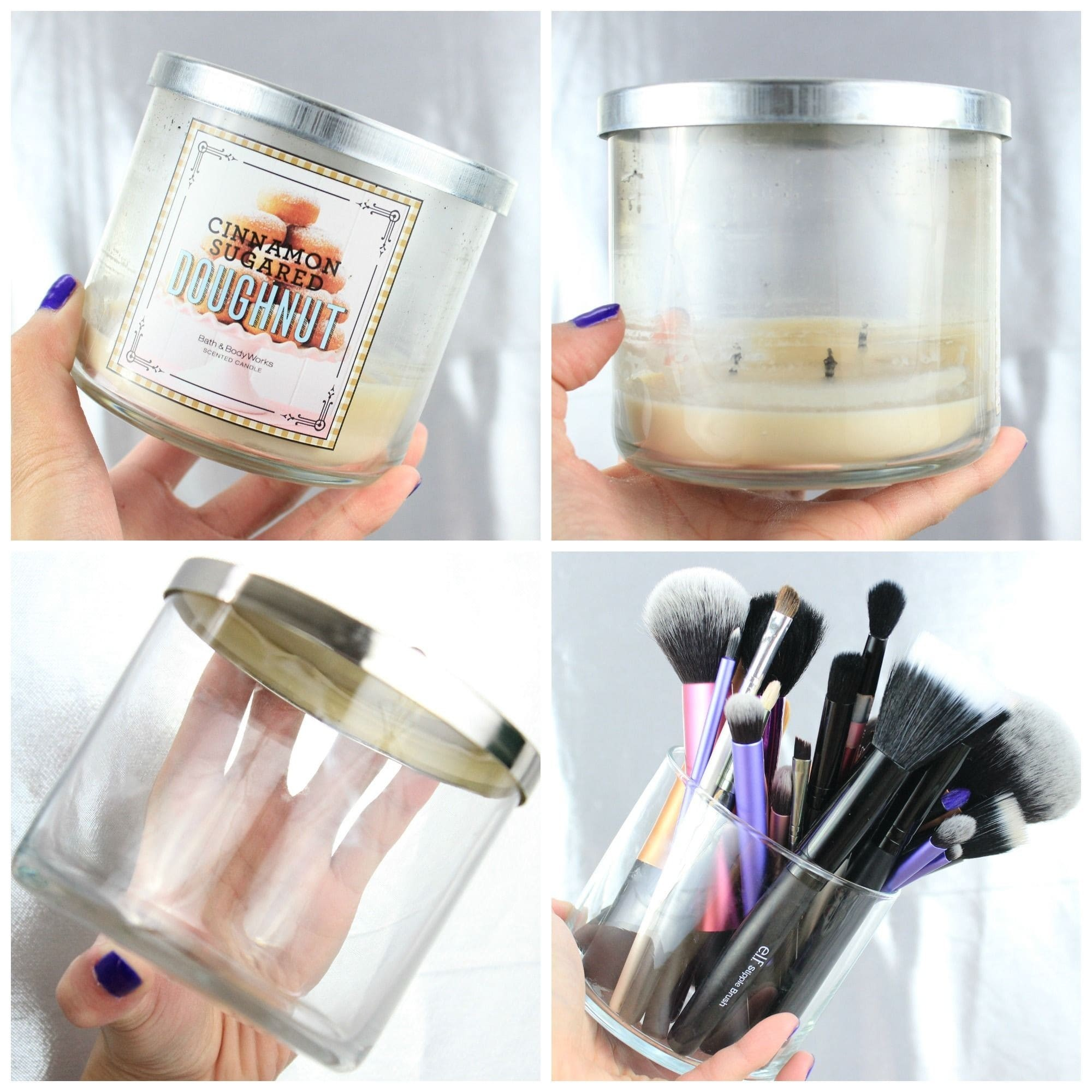 four pictures in one, each showing the transformation of recycle/upcycling a glass candle jar into a makeup brush holder.