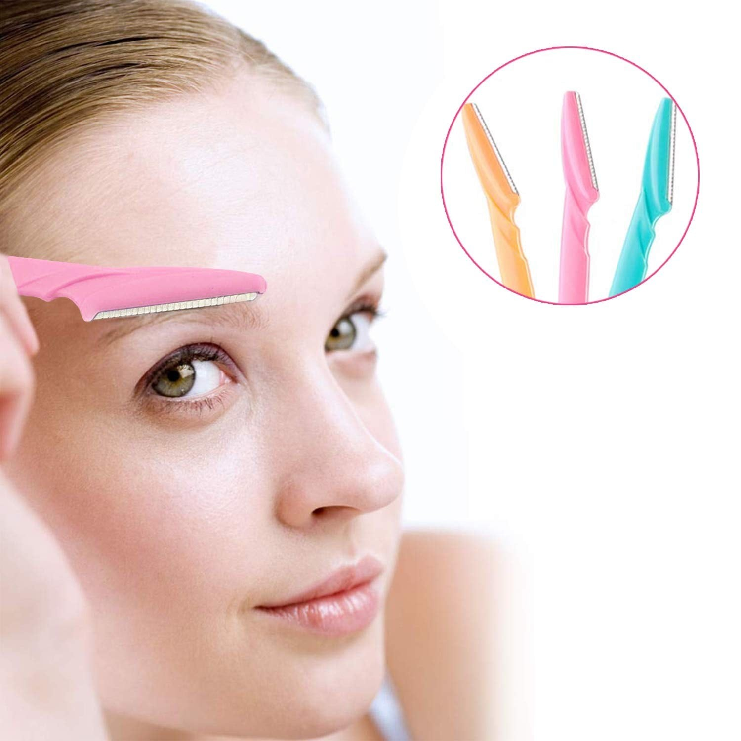 woman holding brow shaping/hair removal blade over her eyebrow.