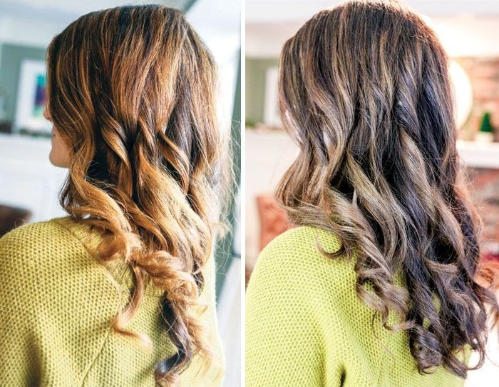Loreal Henna, Before & After pictures of womans hair from behind.