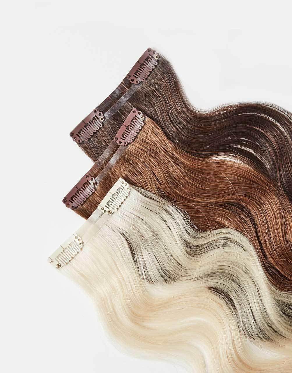 clip-on extensions in various shades.