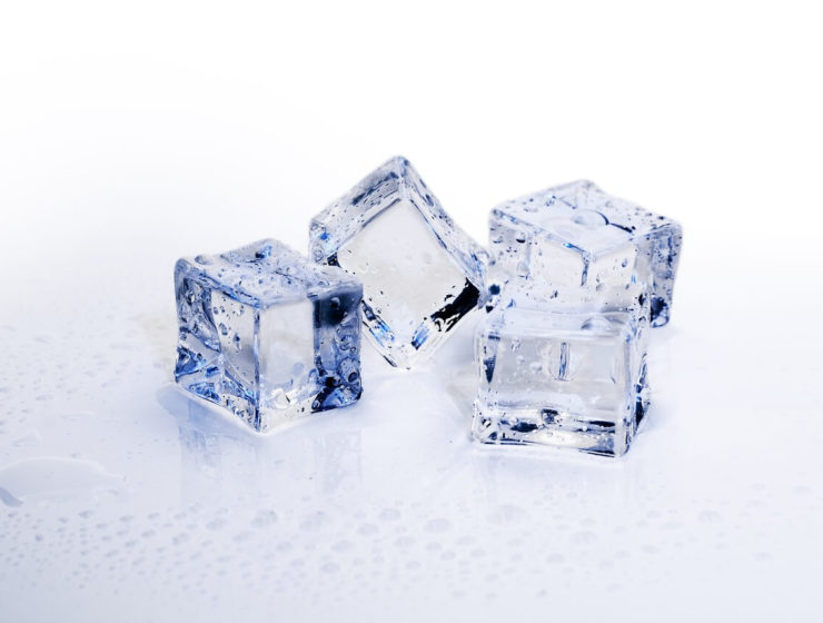 Blocks of ice cubes