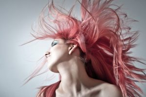 Woman with bright coloured hair