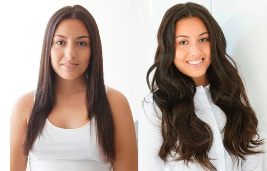 woman pictured before and after using hair extensions.