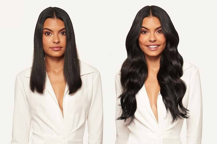 woman pictured before and after using hair extensions, wearing a white blazer.