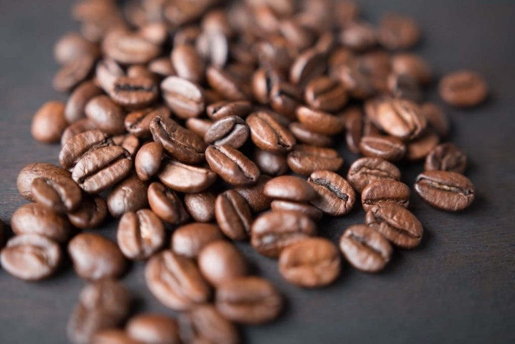 Coffee beans on a surface
