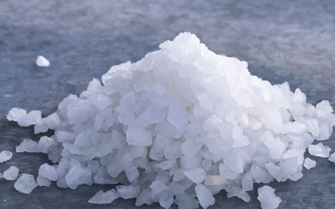a handful of sea salt granules.