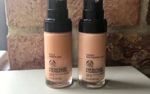 A Picture Of The Body Shop Fresh Nude Foundation Bottle On A White Background
