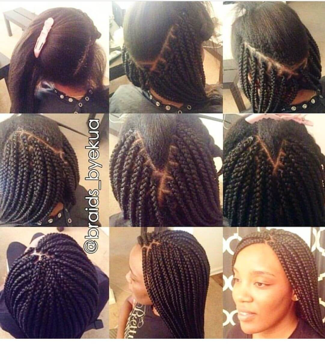 nine images from @braids_byekua instructing how to box braid your own hair.