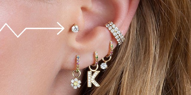 close up of a womans' ear with an arrow pointing to her tragus.